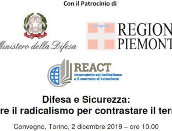 """Convegno a Torino – 2 dicembre: """"Prevenire il radicalismo per contrastare il terrorismo"""""""